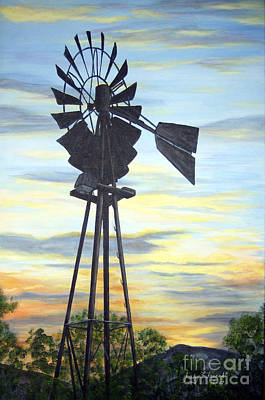 Art Print featuring the painting Windmill Capture The Wind by Judy Filarecki
