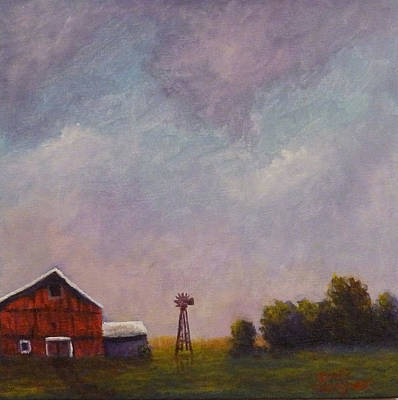 Painting - Windmill Farm Under A Stormy Sky. by Dan Wagner