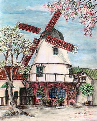 Drawing - Windmill In Danish Village Solvang California by Danuta Bennett
