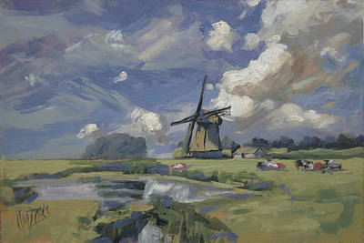 Painting - Windmill In Dutch Polder by Nop Briex