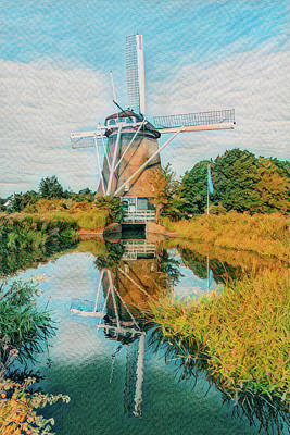 Photograph - Windmill In The Autumn Countryside Watercolor Painting by Debra and Dave Vanderlaan