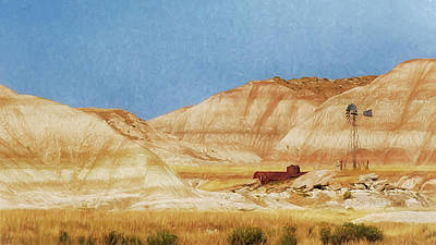 Photograph - Windmill In The Badlands by Susan Rissi Tregoning