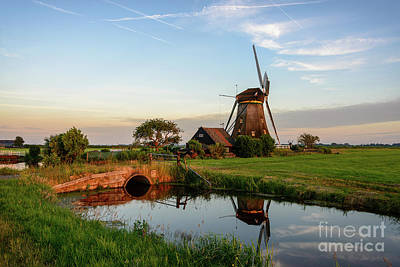 Windmill In The Countryside In Holland Art Print