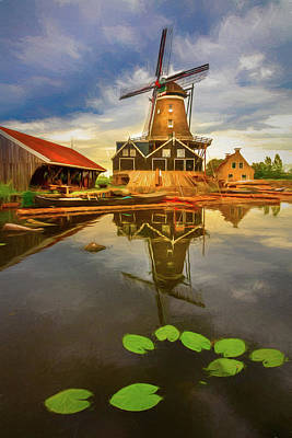 Photograph - Windmill In The Dutch Countryside In Evening Light by Debra and Dave Vanderlaan