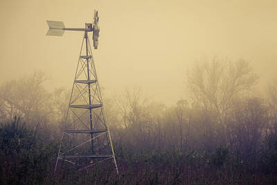 Mist Wall Art - Photograph - Windmill In The Foggy Dawn by Tom Mc Nemar