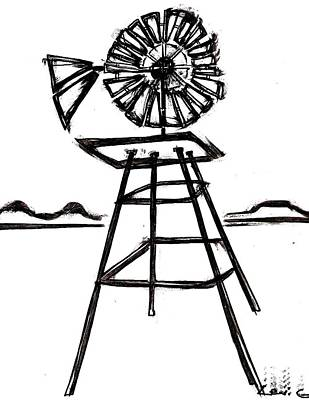 Austin Drawing - Windmill by Levi Glassrock