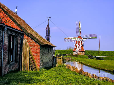 Photograph - Windmill On Canal by Rick Bragan