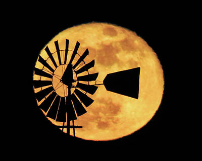 Photograph - Windmill Over Supermoon by Dawn Key