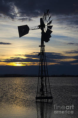 Windmill Qill Lake Saskatchewan Art Print by Bob Christopher