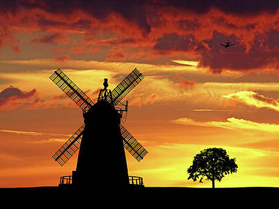 Windmill Silhouette At Sunset Art Print by Gill Billington
