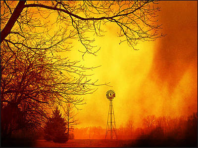 Photograph - Windmill Storm by Michael L Kimble