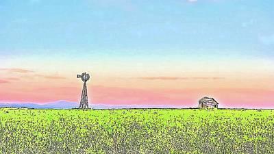 Photograph - Windmill Sunrise Douglas Wyoming Iv by Lanita Williams
