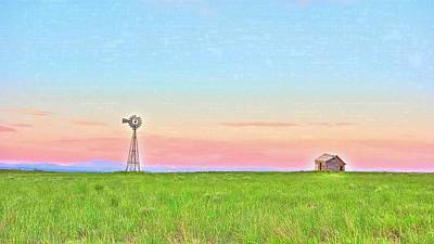 Photograph - Windmill Sunrise Douglas Wyoming V by Lanita Williams
