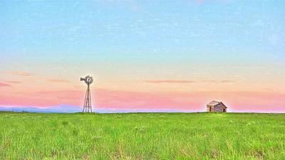 Photograph - Windmill Sunrise Douglas Wyoming V by Lanita Williams
