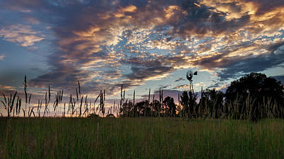 Farm Scenes Photograph - Windmill Sunset by Bill Wakeley