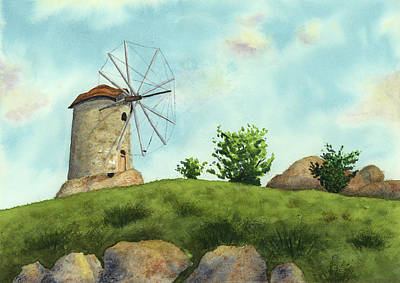 Painting - Windmill by Taylan Apukovska