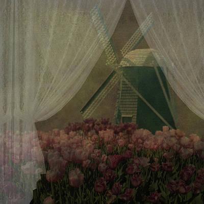 Skagit Digital Art - Windmill Through Laced Curtain by Jeff Burgess