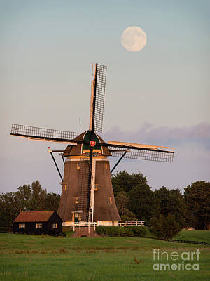 Photograph - Windmill Under A Full Moon by IPics Photography