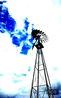 Photograph - Windmill With Clouds by Cindy New
