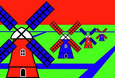 Mixed Media - Windmills by Asbjorn Lonvig