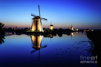 Photograph - Windmills At Dusk In The Blue Hour by IPics Photography