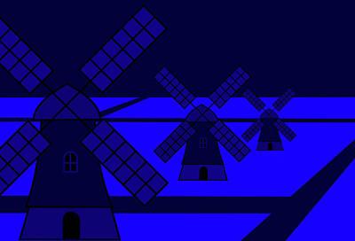 Mixed Media - Windmills At Night by Asbjorn Lonvig
