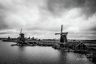 Zaans Photograph - Windmills At Zaanse Schans Bw by RicardMN Photography