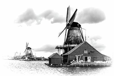 Photograph - Windmills At Zaanse Shans In Black And White 2 by Jenny Hudson