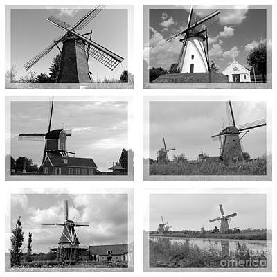 Photograph - Windmills Collage - Black And White by Carol Groenen