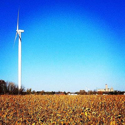 Photograph - Windmills, Corn, Water Tower, And Silos by Chris Brown