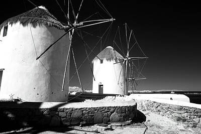 Photograph - Windmills In Mykonos Infrared by John Rizzuto