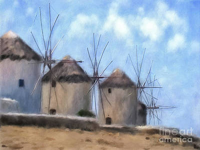 Digital Art - Windmills Of Mykonos by Lois Bryan