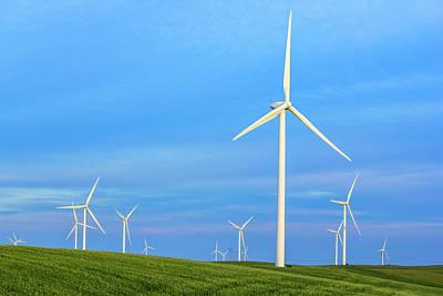 Photograph - Windmills On Blue by Randy Bayne