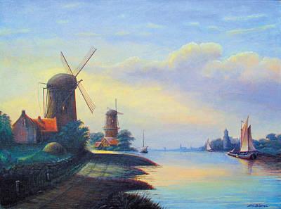 Nederland Painting - Windmills On The Rhine by Nick Diemel