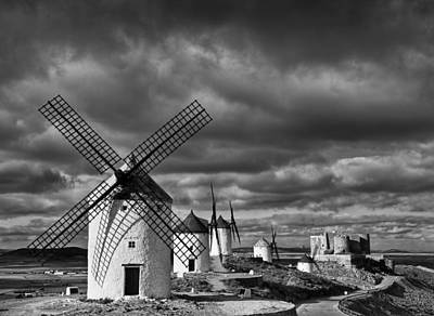 Windmills With Castle, Consuegra Art Print by Cesar March