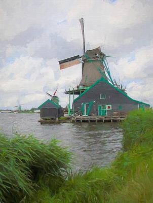 Mixed Media - Windmills Zaanse Schans by Susan Lafleur