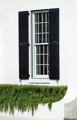 Photograph - Window And Black Shutters by Karen Adams