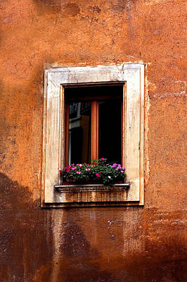 Window And Flowers Rome  Art Print by Xavier Cardell