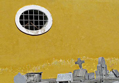 Photograph - Window And Headstones  by Ethna Gillespie