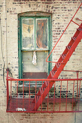 Window And Red Fire Escape Art Print by Gary Heller