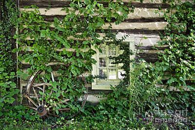 Pop Art - Window and Wagon Wheel at Abandon Building by David Arment
