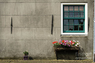 Refection Photograph - Window And Wood Planter In Edam by RicardMN Photography
