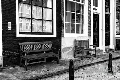 Window Bench Photograph - Window Benches In Amsterdam Mono by John Rizzuto