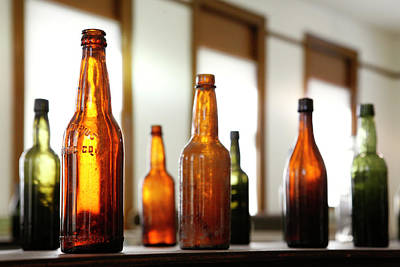 Old Brown Bottle Photograph - Window Bottles by Marilyn Hunt