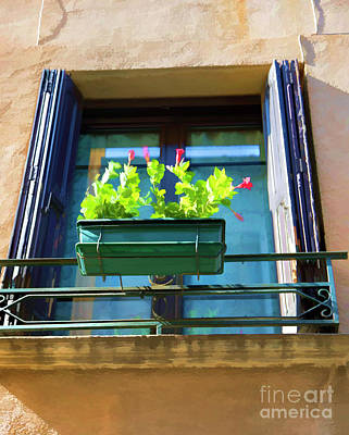 Photograph - Window Box Flowers Paint France  by Chuck Kuhn