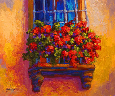 Red Poppies Painting - Window Box  by Marion Rose