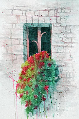 Painting - Window Box With Red Flowers by Rebecca Davis