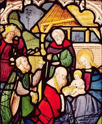 French School Painting - Window Depicting The Adoration Of The Magi by French School