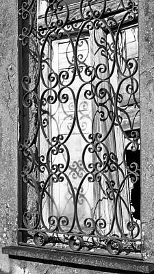 Photograph - Window Grate Bw by Joan Carroll