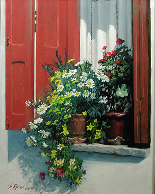 Painting - window in Scopelos by Demetrios Vlachos